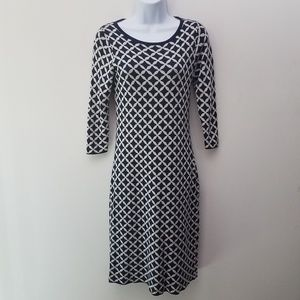Boden Knit Sweater Dress Navy Blue Beige 3/4 Sleev